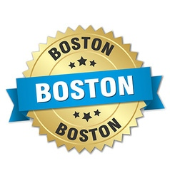 Boston round golden badge with blue ribbon vector