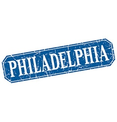 Philadelphia blue square grunge retro style sign vector