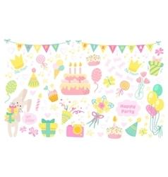 Happy birthday celebration icons vector