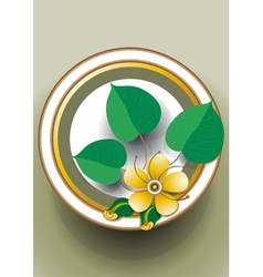 Oval frame with yellow flower vector