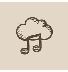 Cloud music sketch icon vector