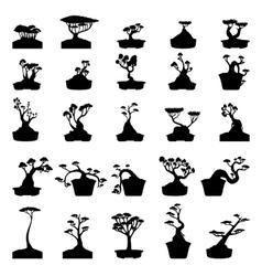Bonsai trees silhouettes set vector