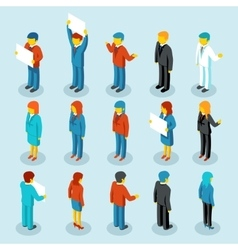 Business people isometric 3d figures vector image