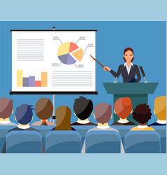 businesswoman making presentation vector image vector image