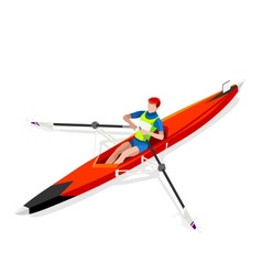 Canoe rowing single 2016 sports 3d vector