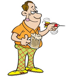 Cartoon man throwing a dart vector image vector image