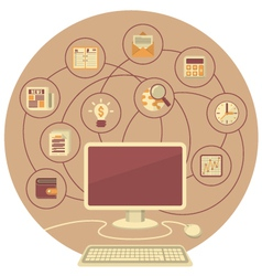 Computer as a Tool for Business in Brown Circle vector image