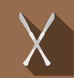 Crossed scalpels icon flat style vector