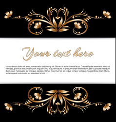 Frame of gold floral motifs vector