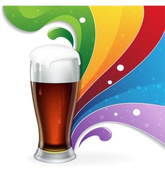 Glass of beer and rainbow vector image vector image