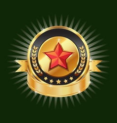 Gold emblem and red star label element vector image