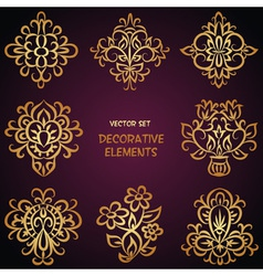 Golden decorative ethnic elements vector image vector image