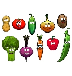 Healthy fresh cartoon vegetables characters vector