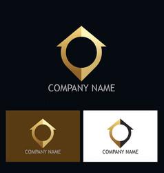 Home location gps gold logo vector