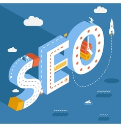 Isometric SEO success internet searching vector image vector image