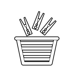 Laundry basket with clothes pin vector