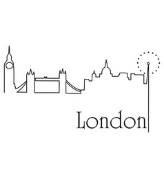 London city one line drawing background vector