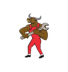 Mechanic Minotaur Bull Spanner Isolated Cartoon vector image vector image