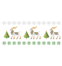 Pattern deer and trees like cross-stitch vector