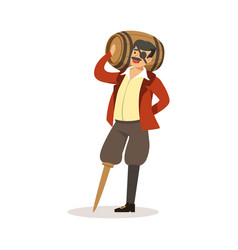 Pirate sailor character with wooden leg holding vector