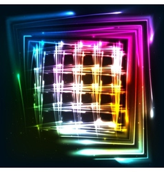 Rainbow colors shining neon lights grid vector
