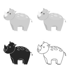 Rhinoceros icon cartoon singe animal icon from vector