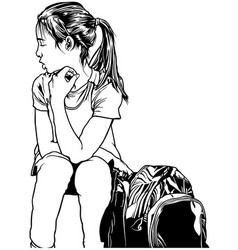 school girl with backpack vector image vector image
