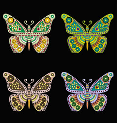 Set of embroidery pattern with butterfly on black vector