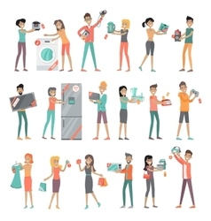 Set of Peoples on Electronics Store Sale vector image vector image
