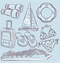 Set of summer symbols cruise ship boat vector