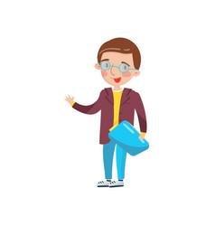 smart boy in glasses preschool activities and vector image vector image