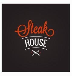 steak grill bbq logo design background vector image