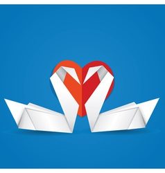 Swans and red heart2 vector image