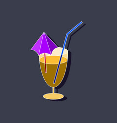 sweet dessert in paper sticker cocktail vector image vector image