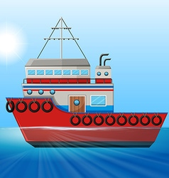 Tugboat floating in the ocean vector image vector image