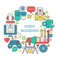 Video blogging flat line concept vector
