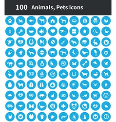 100 animals pets icons vector image