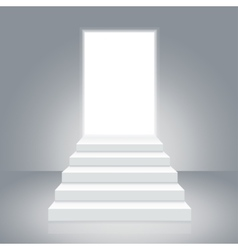 White staircase to open door vector