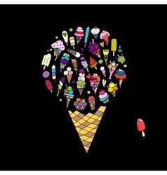 Big icecream sketch for your design vector