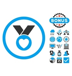 Charity medal flat icon with bonus vector