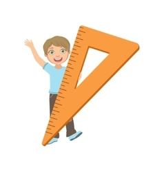Boy In School Uniform With Giant Triangle Ruler vector image
