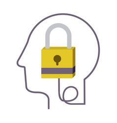 Silhouette profile human head with closed padlock vector