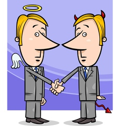 Angel and devil businessmen cartoon vector
