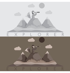 Flat design of explorer with spyglass on the vector