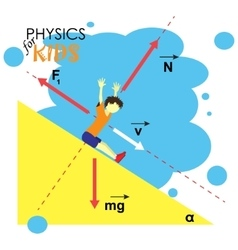 Science for kids cartoon kid is studying physics vector
