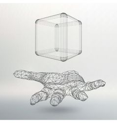 Cube of lines and dots on the arm The hand vector image