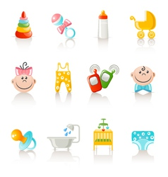 Baby clothing and accessories icons vector