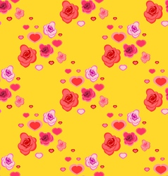 Seamless pattern with roses and hearts vector