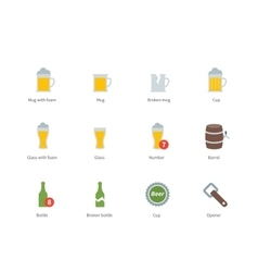 Beer and beverages color icons on white background vector