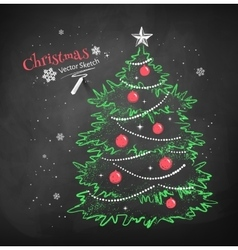 Christmas tree on black chalkboard background vector